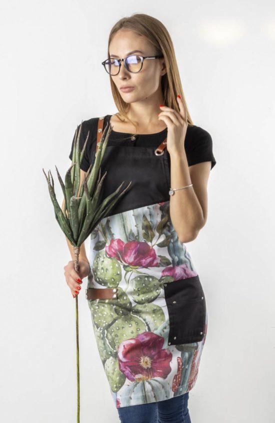 Ромеско черный с принтом кактусы