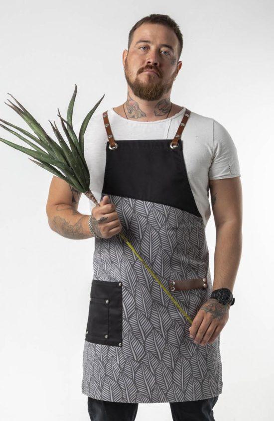 Ромеско черный с принтом серый лист