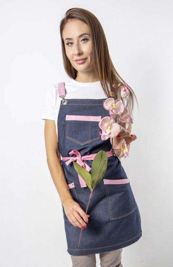 Самбал синий джинс с розовыми вставками