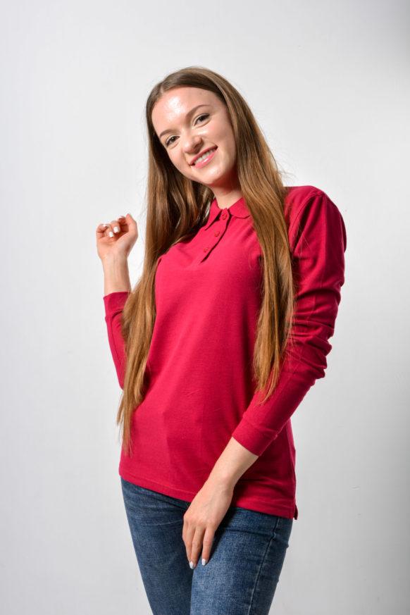 Поло с длинным рукавом бордовая