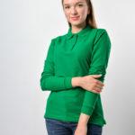 Поло с длинным рукавом зеленая