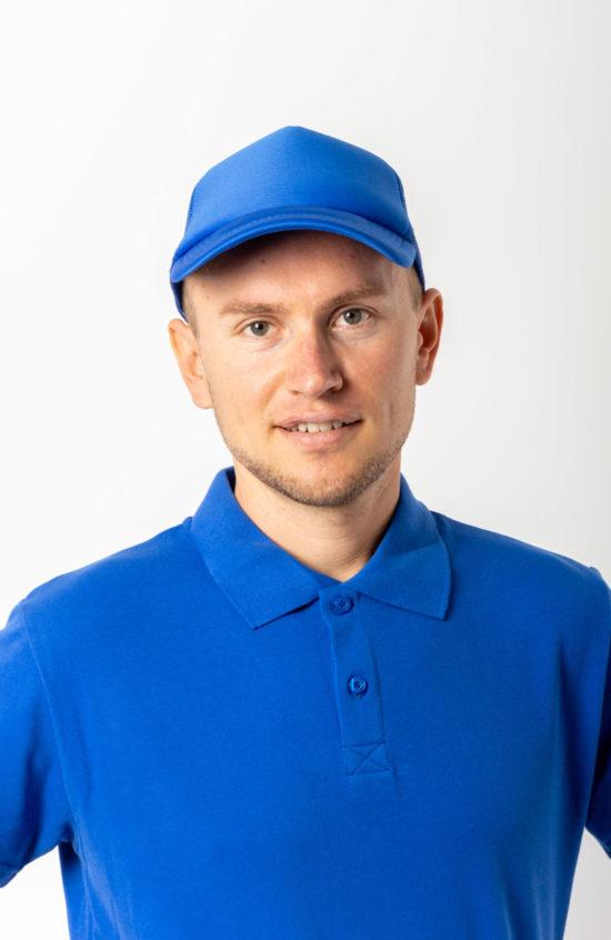 Бейсболка с сеточкой синяя