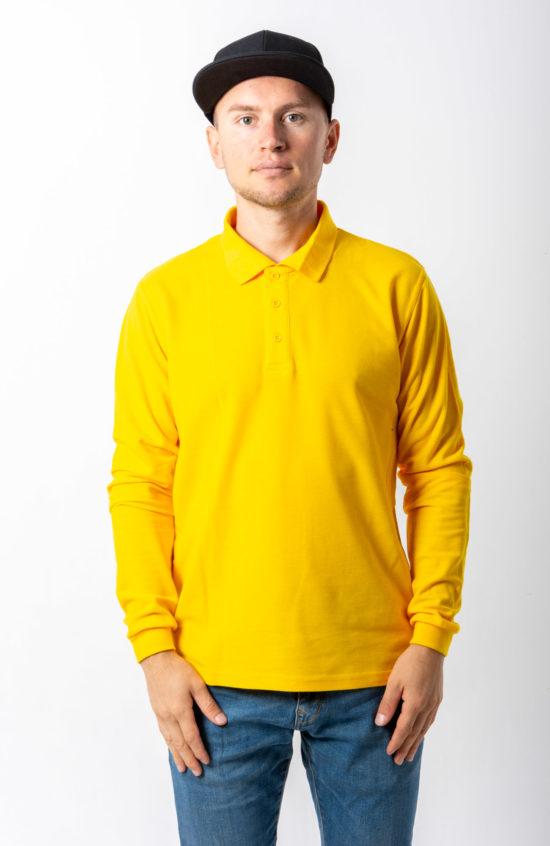 Поло с длинным рукавом желтая