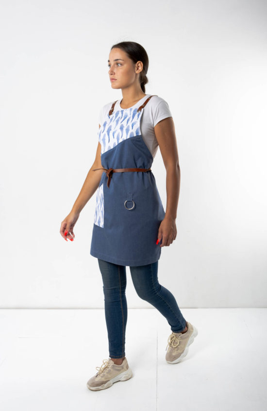 Муслин серо-синий с принтом сомики