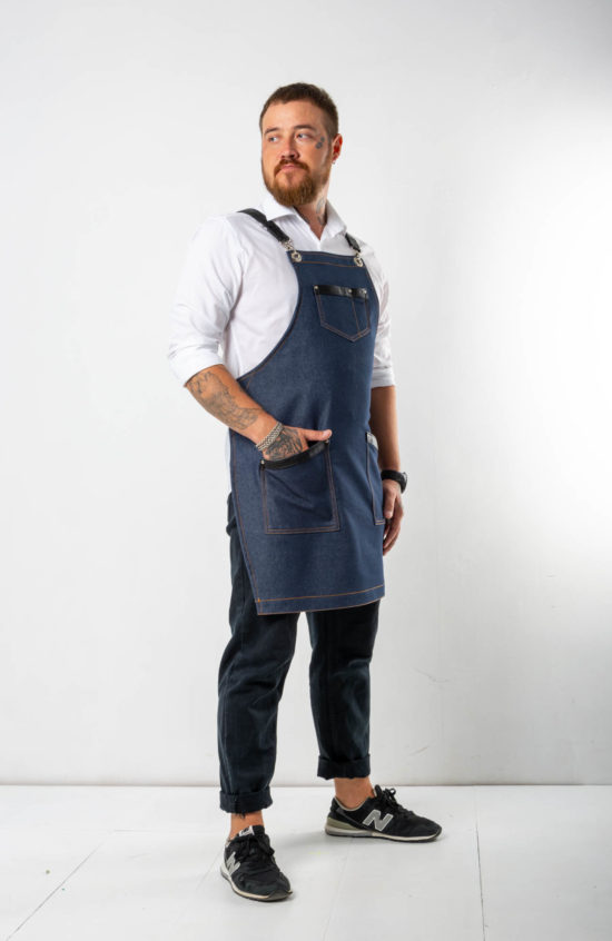 Самбал синий джинс с черными вставками