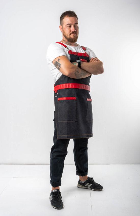 Табаско черный джинс с красными вставками
