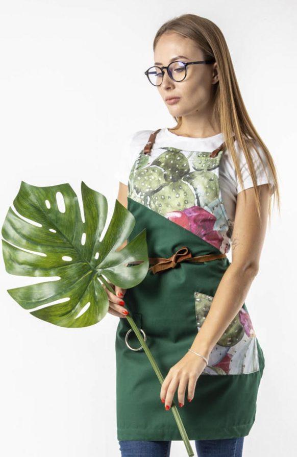 Муслин зеленый с принтом кактусы
